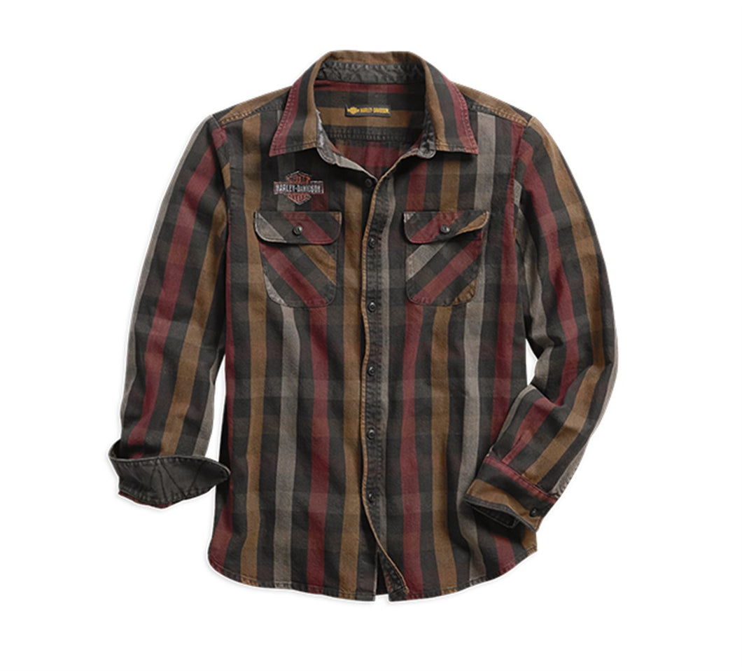 Logo Over-Dyed Plaid Slim Fit Shirt
