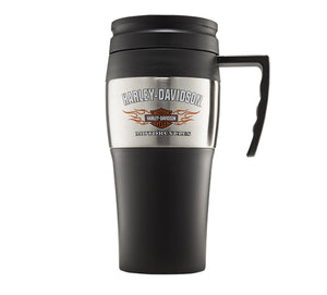 Bar & Shield Logo with Flames Travel Mug