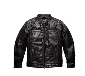 Perforated Panel Leather Jacket