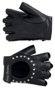 Embellished Fingerless Leather Gloves