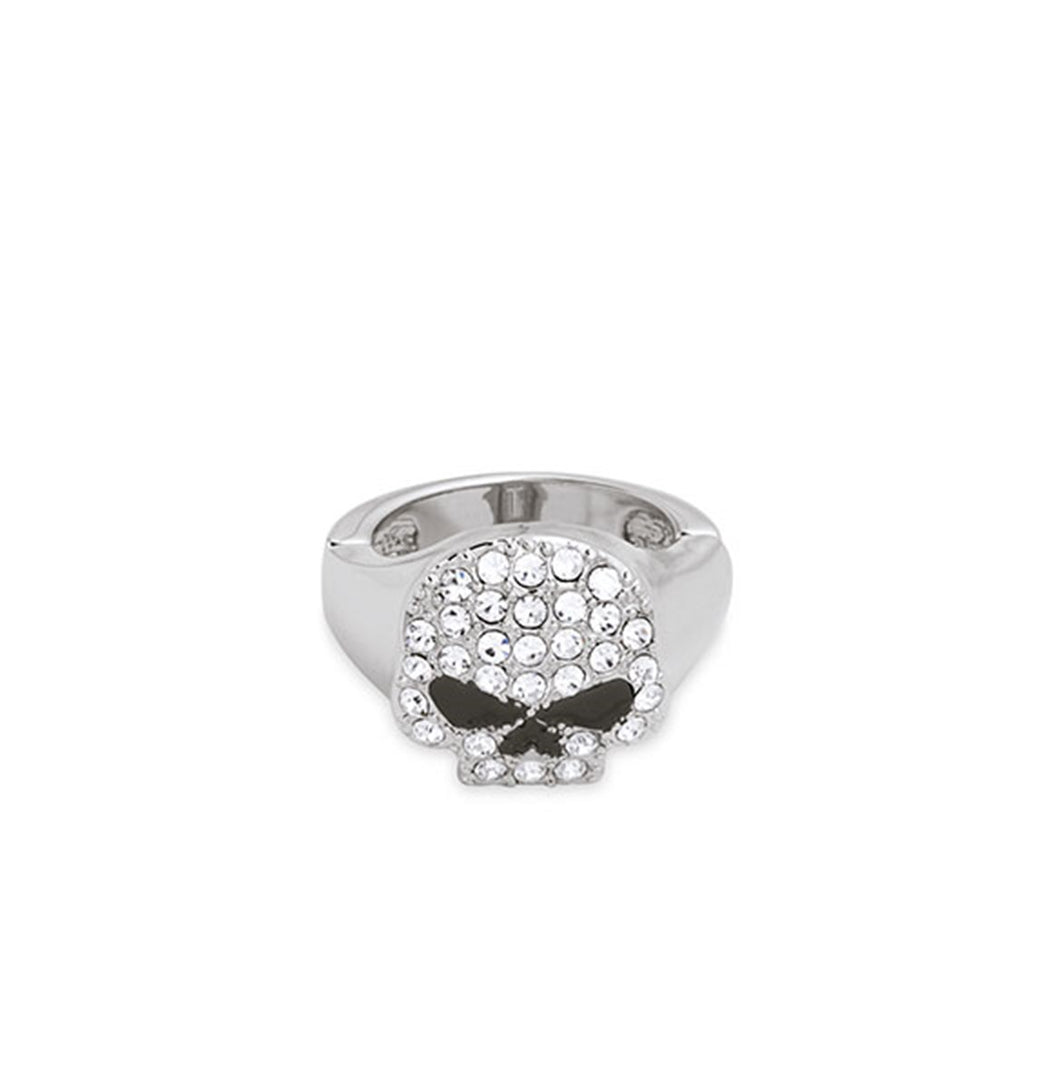 Clear Rhinestone Skull Stretch Ring