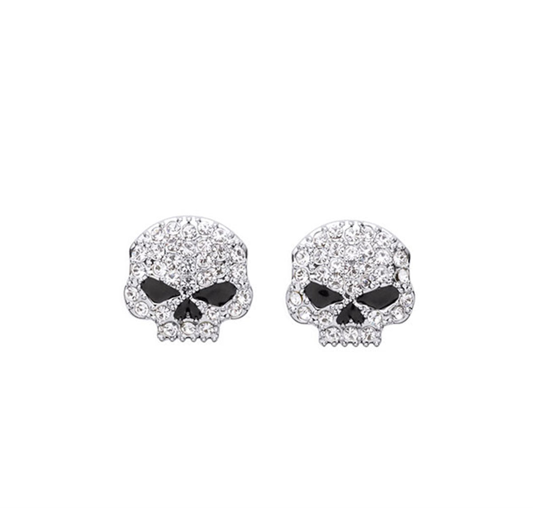 Clear Rhinestone Skull Stud Earrings