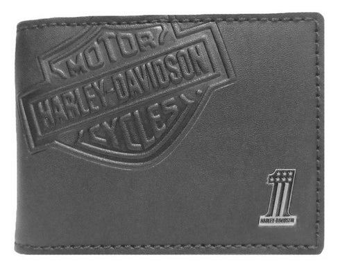 Harley-Davidson® Mens Embossed Bar & Shield Cash Clip Wallet, Black CR2375L-BLACK