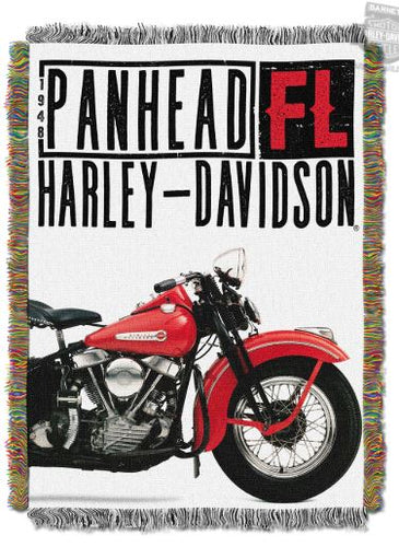 Harley-Davidson® Mens 1948 FL Panhead 48x60 Tapestry Throw Blanket 48