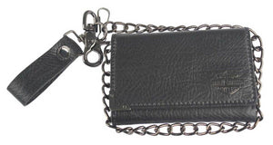 Harley-Davidson® Mens Gunmetal Leather Medium Biker Tri-Fold Wallet GM6516L-BLACK