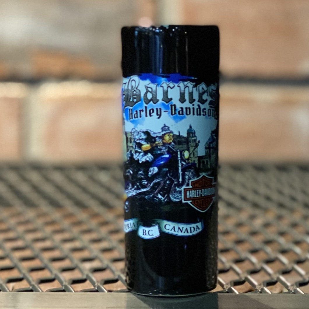 Barnes Harley-Davidson® Victoria Custom Shot Glass. Black Tall double shot glass.