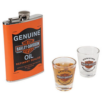 H-D OIL CAN FLASK & SHOT GLASS SET
