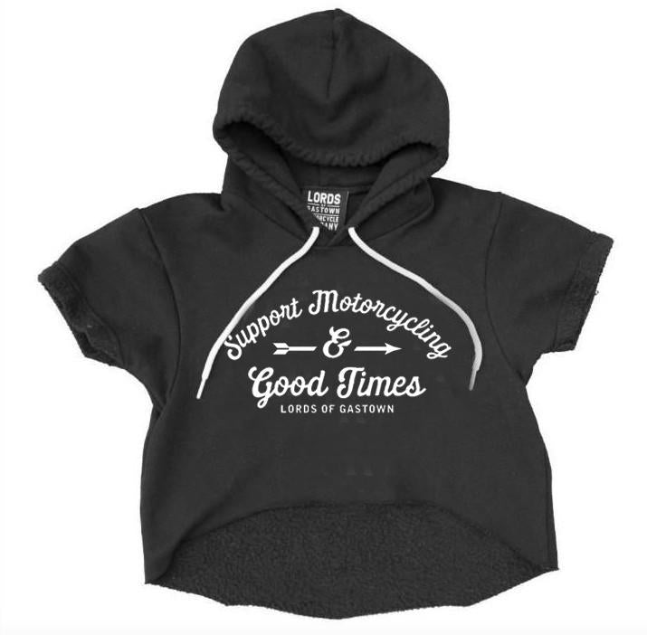 Support Motorcycling Cropped Pullover Hoodie