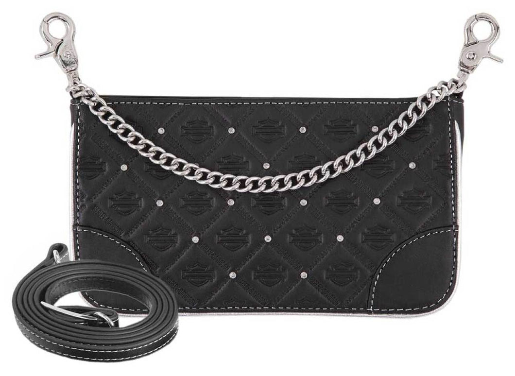 Harley-Davidson® Women's B&S Studded Chain Leather Hip Bag w/ Strap HDWBA11313