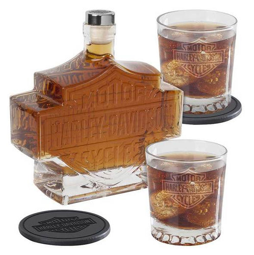 Harley-Davidson® Bar & Shield Logo Decanter Set, Hand Blown Set HDL-18746