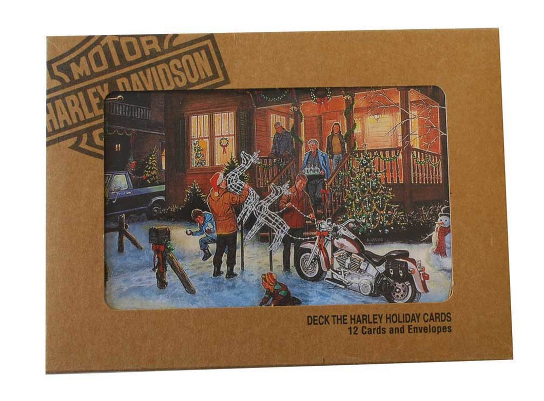 Harley-Davidson® Deck the Harley Set of 12 Christmas Greeting Cards HDL-20034