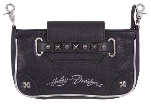 Harley-Davidson® Women's Studded Grip Pouch Leather Hip Bag, HDWBA11351-BLK