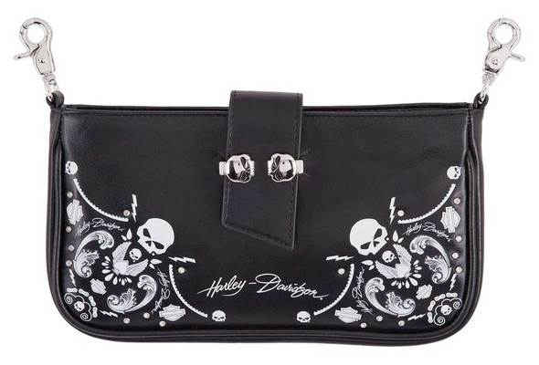 Harley-Davidson® Women's Willie G Skull Bandana Pouch Leather Hip Bag w/ Strap
