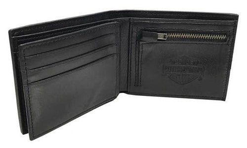 Harley-Davidson® Mens Skull Concho Bi-Fold RFID Genuine Leather Wallet HDMWA11474