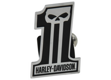 "Harley-Davidson 2"" Trailer Hitch Receiver Cover - Number 1 Skull - Chrome-Plated Brass Item # HDHC216"