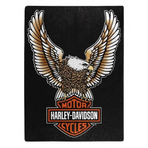 HARLEY-DAVIDSON FLY HIGH LARGE ROYAL PLUSH RASCHEL THROW BLANKET