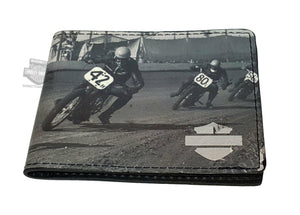 Harley-Davidson® Mens Flat Track Racing Motorcycles Black Leather Bifold Wallet by LODIS *24x3*
