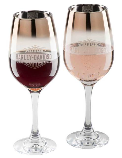 Harley-Davidson® Copper Ombre Bar & Shield Wine Glass Set - 12 oz. HDX-98717