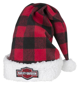 Harley-Davidson® Winter Holiday Santa Hat - Red Plaid w/ Satin Lining HDX-99153