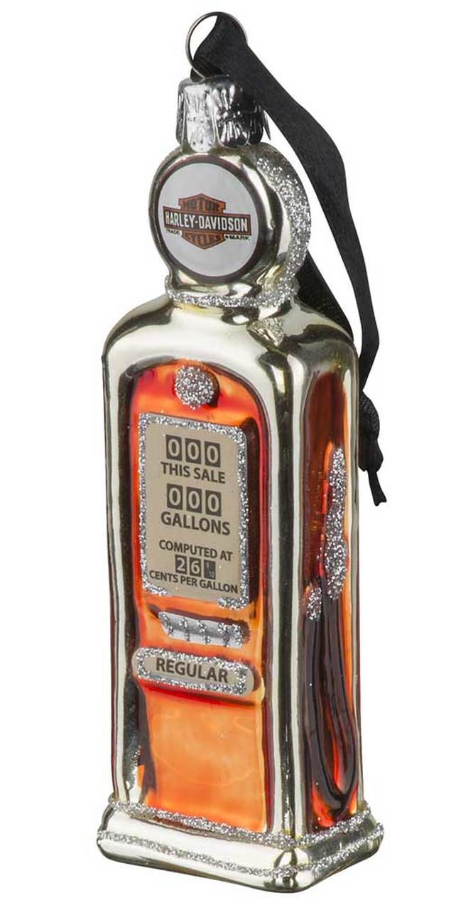 Harley-Davidson® Blown Glass B&S Gas Pump Ornament, Glitter Accents HDX-99168