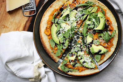 Cauliflower Pizza Crust with Avocado + Sweet Potato