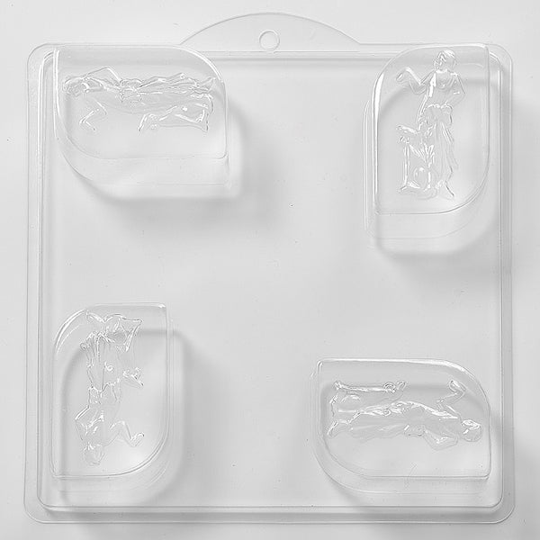 1920's Lady Soap/Bath Bomb Mould Mold 4 Cavity L05