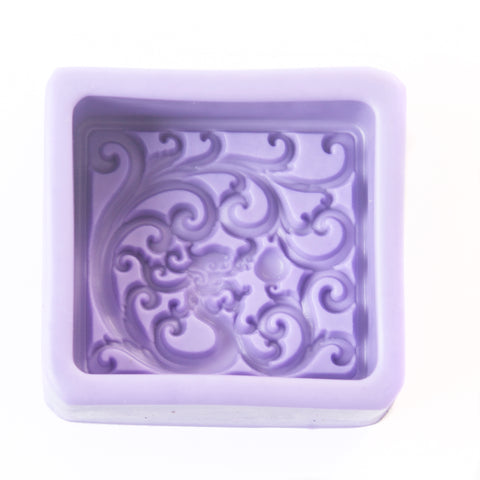 Classic Square With Fractal Waves Silicone Soap Mould R0330