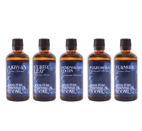 Essential Oils Of India | Gift Starter Pack of 5 x 100ml Essential Oils