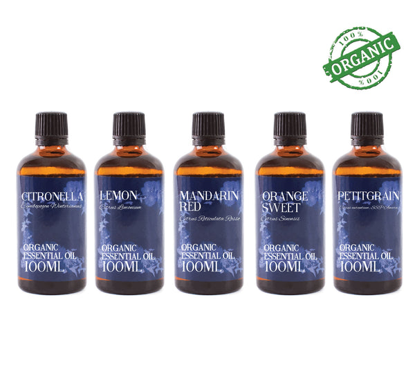 Organic Citrus | Gift Starter Pack of 5 x 100ml Essential Oils