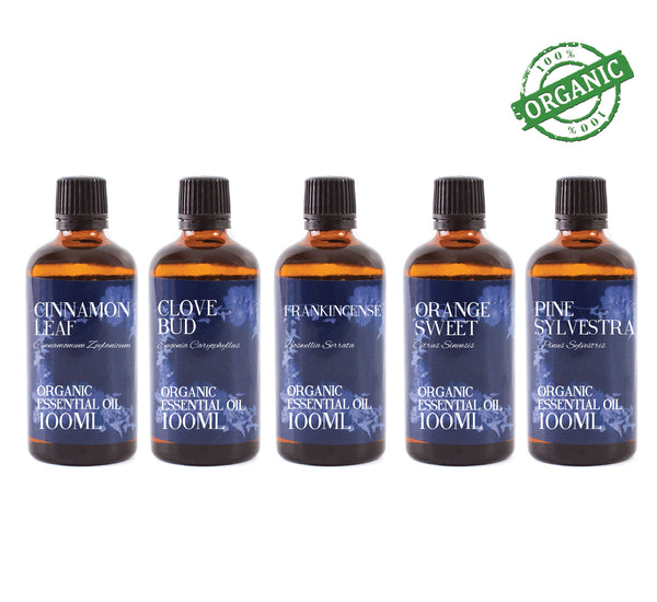 Organic Christmas | Gift Starter Pack of 5 x 100ml Essential Oils