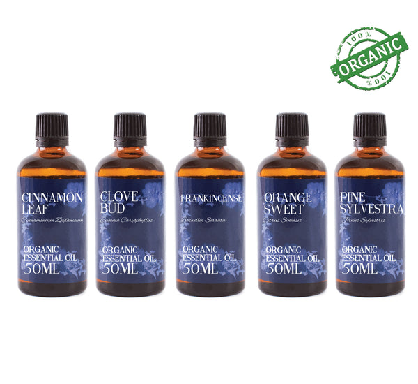 Organic Christmas | Gift Starter Pack of 5 x 50ml Essential Oils
