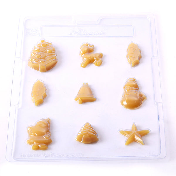 Assorted Christmas Shapes Chocolate/Sweet/Soap/Plaster/Bath Bomb Mould #140 (9 cavity)