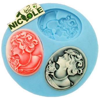 Cameo Silicone Fondant/Icing/Choc/Jewellery Mould - 3 Cavity F0012