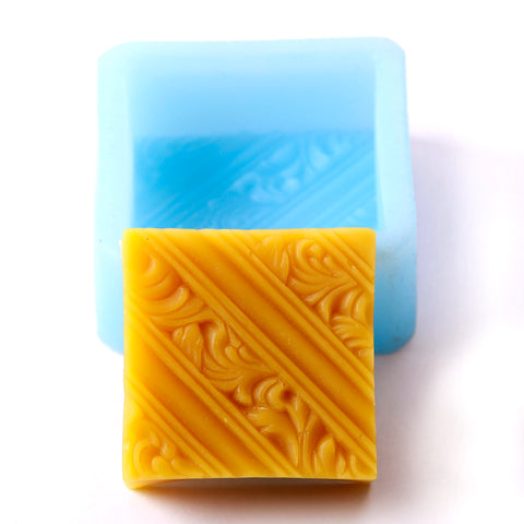Diagonal Lines and Rococo Swirls Square Silicone Soap Mould R0134