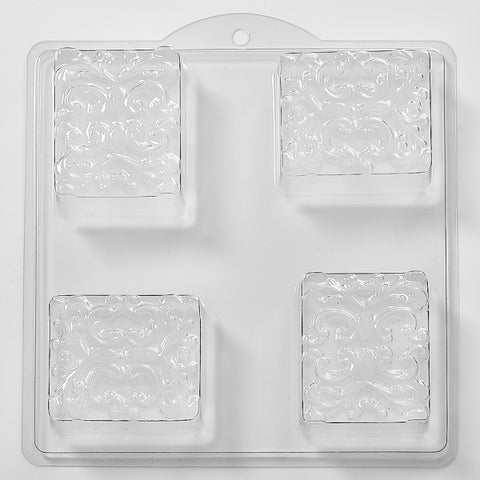 Floral Pattern In Square Plastic Soap/Bathbomb Mould 4 Cavity M37