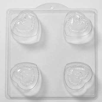 Frilly Bow Heart Heart Soap/Bath Bomb Mould Mold 4 Cavity M18