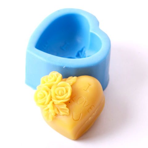 Heart With Roses Silicone Soap Mould R0227