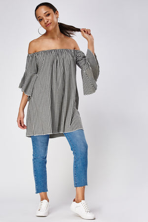 Top de cuadritos off shoulder - MiTiendaSecreta