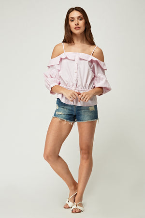 Top cold shoulder con volante
