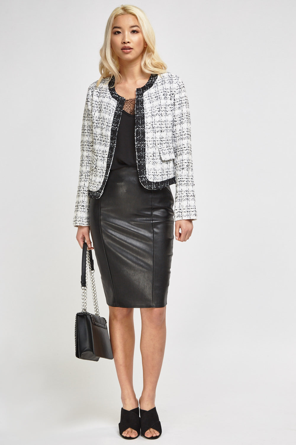 Chaqueta cropped tweed