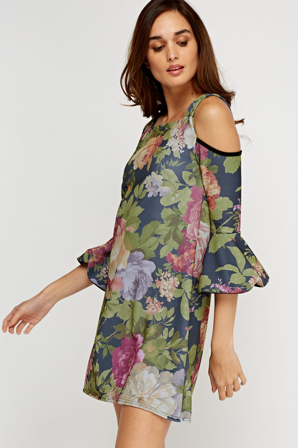 Vestido estampado cold shoulder - MiTiendaSecreta