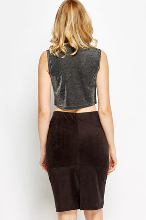 Crop top brillo metálico - MiTiendaSecreta