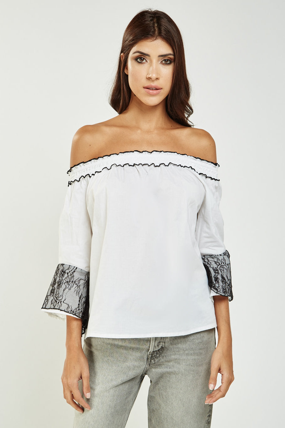 Top off shoulder detalle encaje