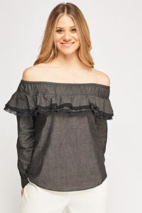 Top manga larga off shoulder - MiTiendaSecreta