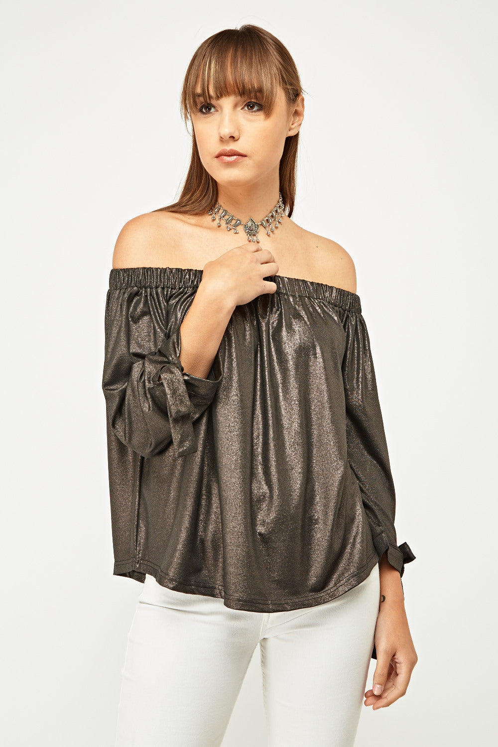Top off shoulder brillo metálico