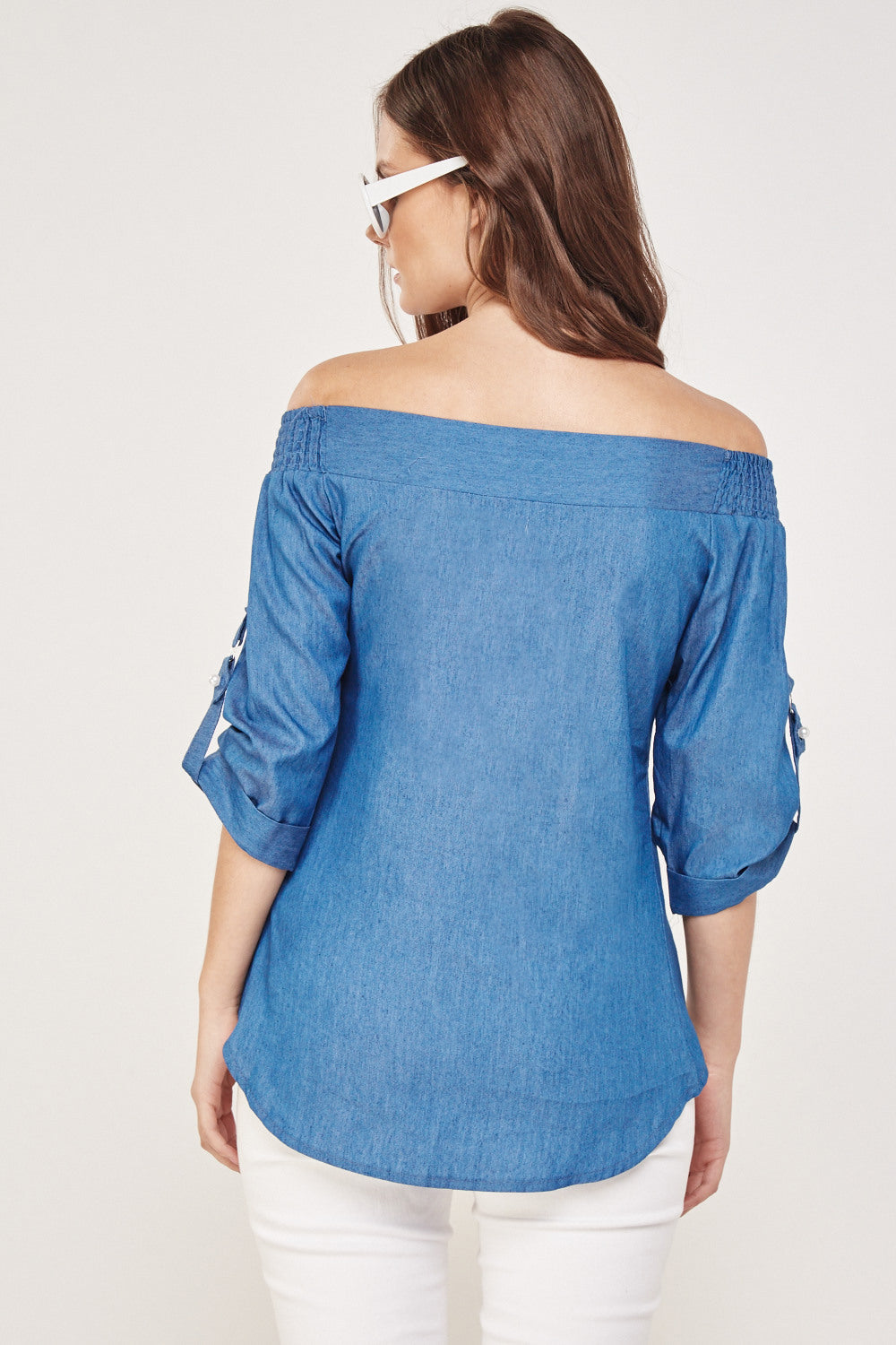 Top off shoulder con perlitas