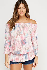 Top estampado off shoulder - MiTiendaSecreta