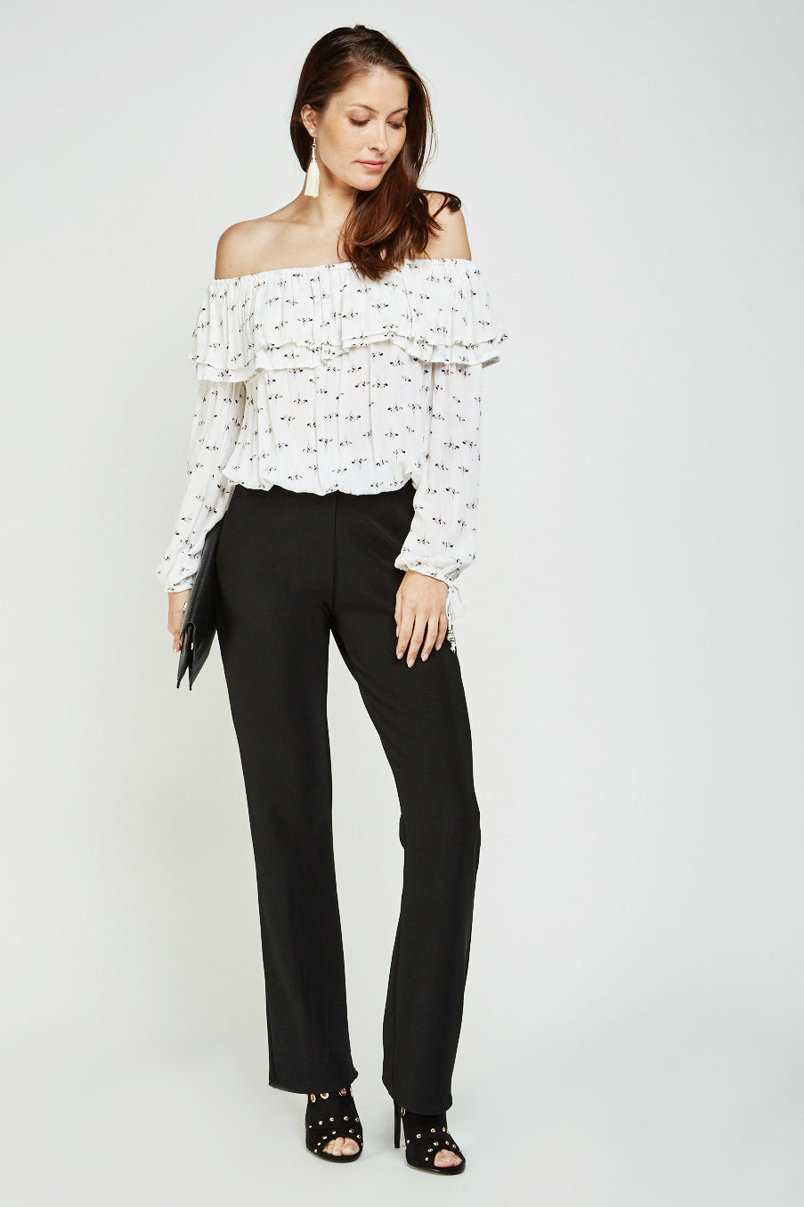 Top off shoulder manga larga