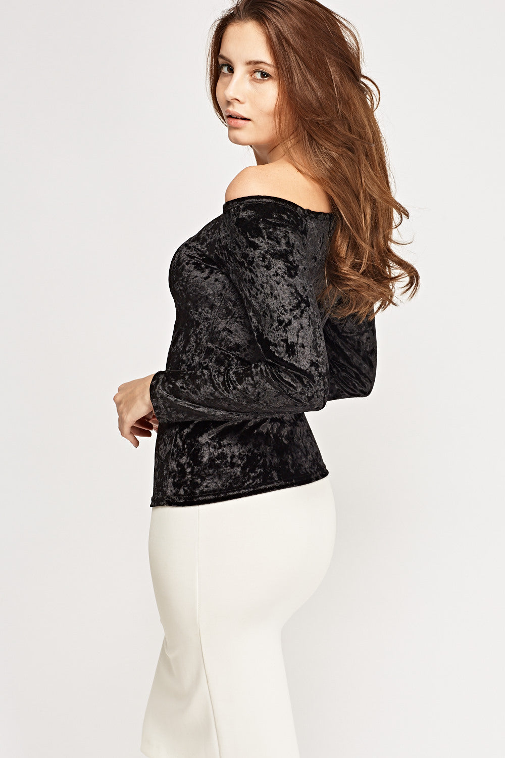 Top aterciopelado off shoulder - MiTiendaSecreta