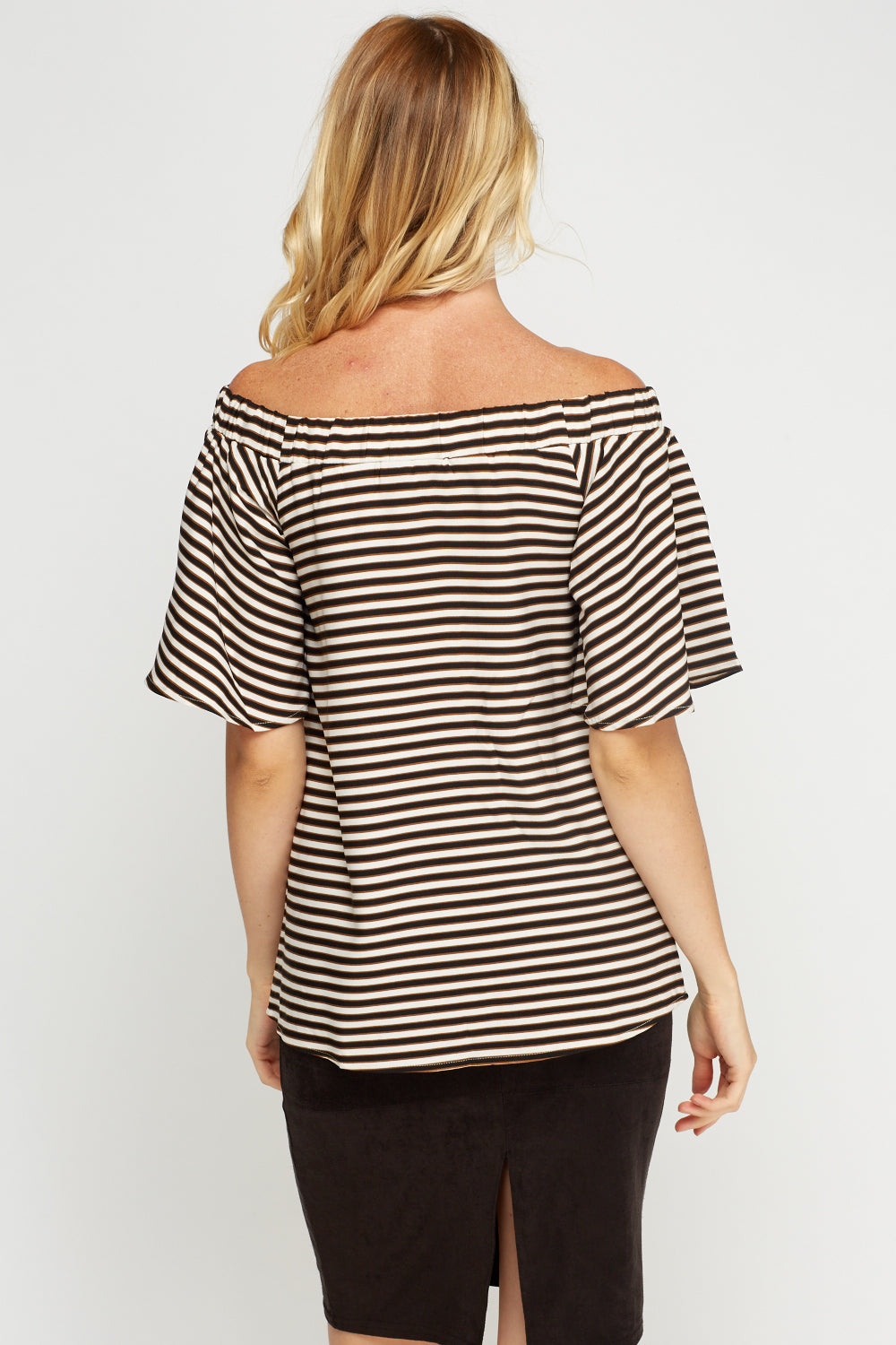 Top de rayas off shoulder - MiTiendaSecreta